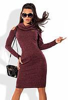 Бордовое платье из ангоры меланж с вырезами на плечах