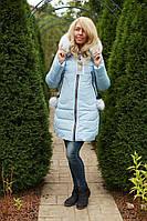 Зимняя куртка INGA женская с мехом теплая цвет Нежно Голубой