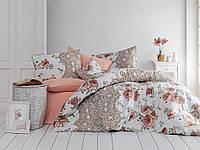 Качественный евро комплект постельного белья ТМ Nazenin Home, ранфорс ARNIA KAHVE