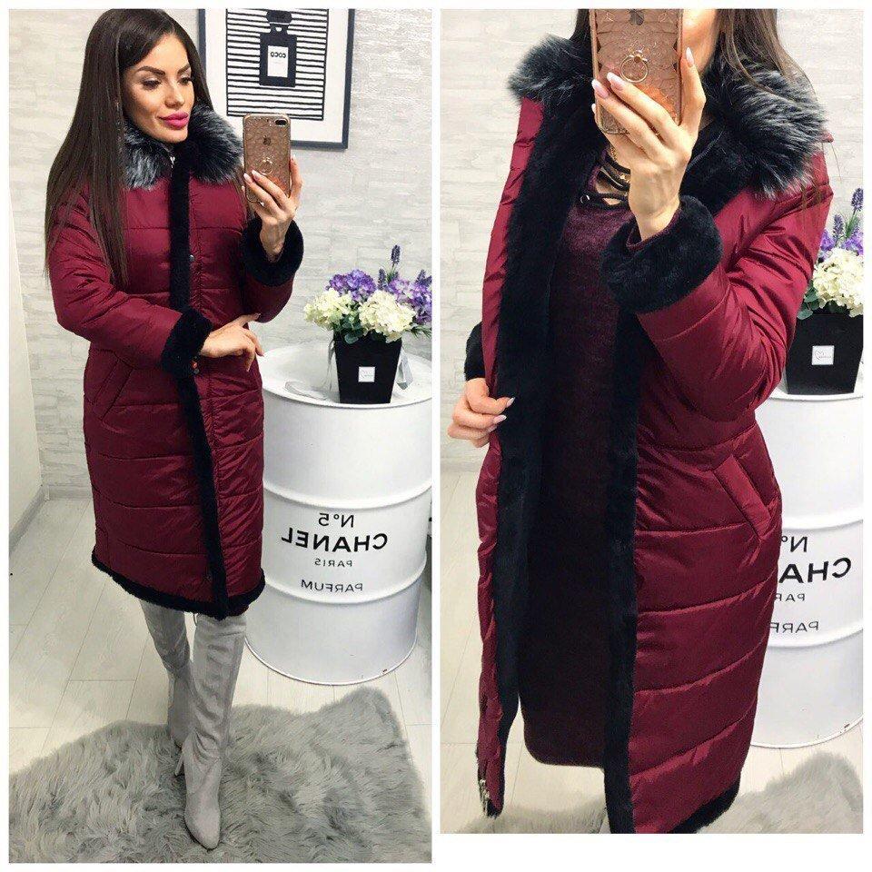 Зимнее пальто с меховой опушкой, силикон 200, марсала-бордо. Будь женственной в любое время года