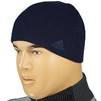 Мужская вязаная шапка Адидас 085 на флисе