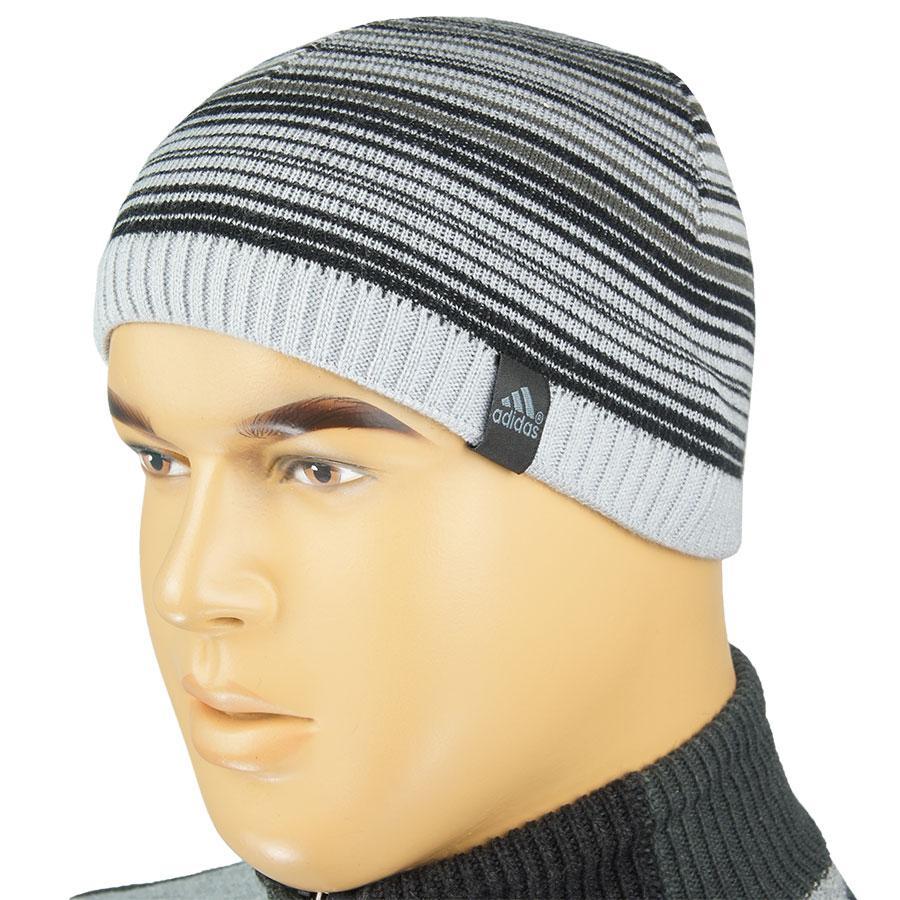 Мужская вязаная шапка 085 на флисе