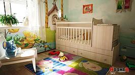 Детская кровать трансформер Аванта SKY (детская кровать + кровать для новорожденных + столик + ящик)