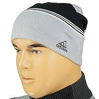 Мужская вязаная шапка Адидас 0105 на флисе