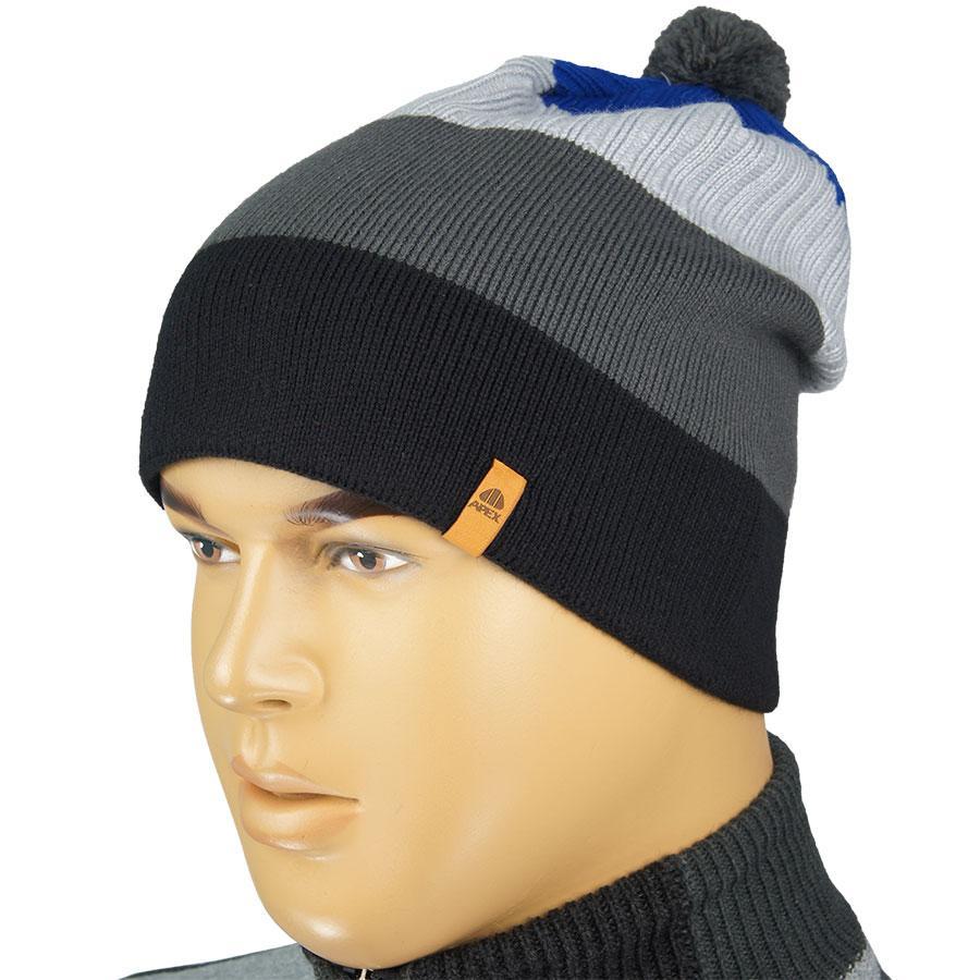 Мужская вязаная шапка Apex Sport 0110 с балабоном