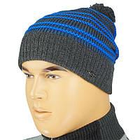 Вязаная мужская шапка Gunner 0165 с балабоном