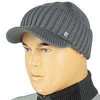 Мужская вязаная шапка Apex Sport К035 с козырьком в разных цветах