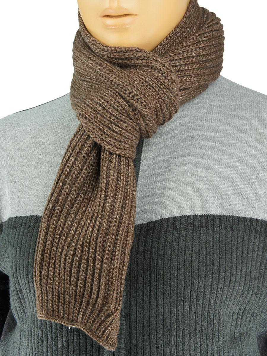 вязаный мужской шарф Apex Sport Step коричневого цвета для