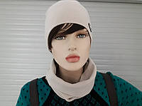 Модный универсальный Комплект женский шапка двойная плюс баф с натуральной нитки