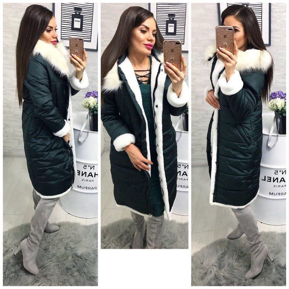 Зима 2018 Пальто с меховой опушкой, силикон 200, 3 цвета. Будь женственной в любое время года