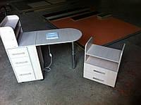 Маникюрный стол с вытяжкой с полками для лаков и 3 выдвижными ящиками в цвете дуб молочный