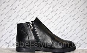 Ботинки зимние из натуральной кожи черного цвета на молнии код 1139, фото 2