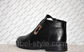 Ботинки зимние из натуральной кожи черного цвета на молнии код 1139, фото 3