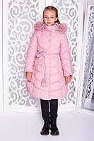 Зимнее пальто для девочки Шейла, пудровое