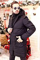 Зимнее мужское пальто с капюшоном, термо- и водостойкая плащевка, синтепон 200, черное