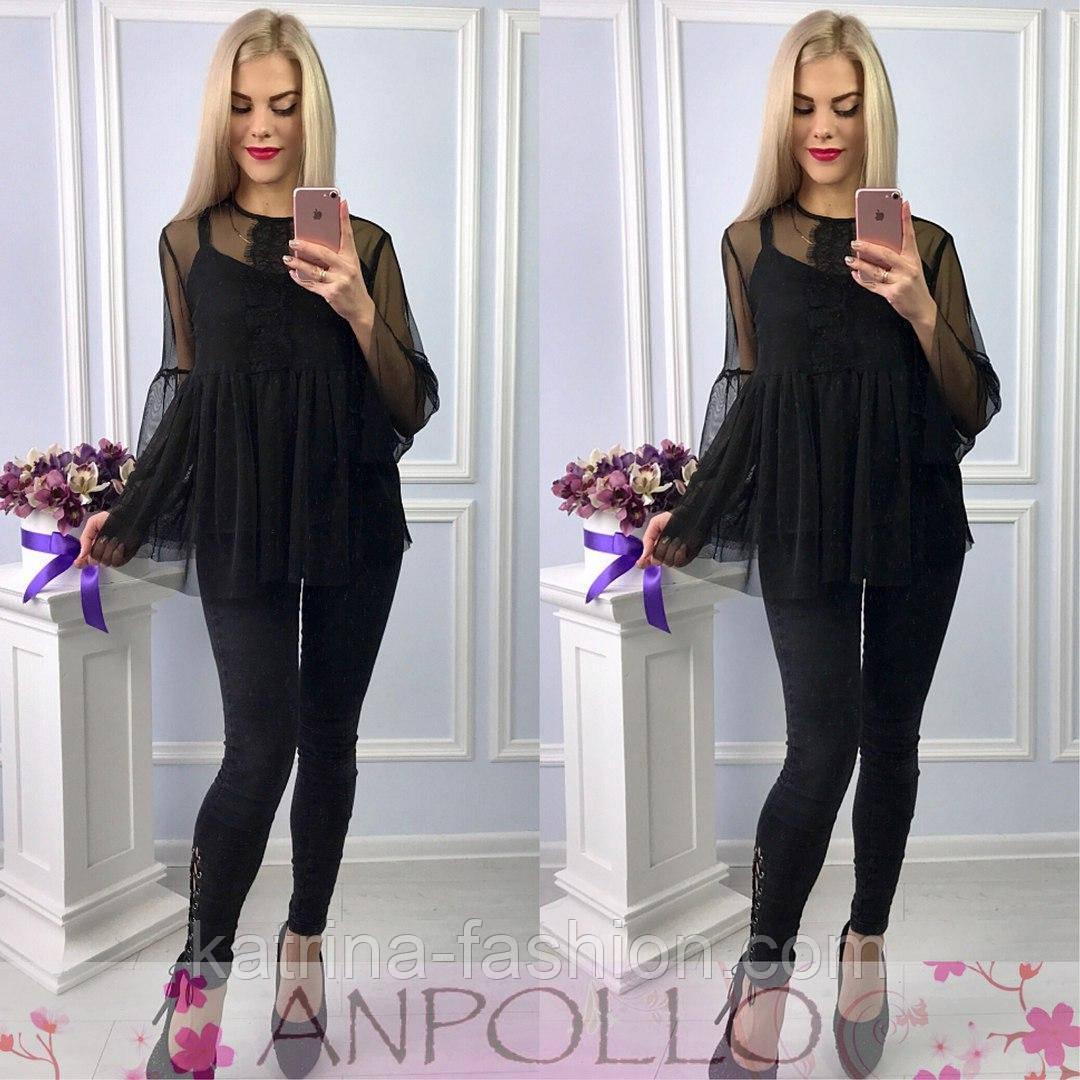 770389668b5 Женская модная черная шелковая блуза двойка с сеткой и кружевом ...