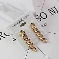Стильные женские серьги цепочки золотистого цвета