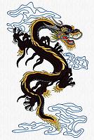 Дизайн машинной вышивки Дракон Большой 300 х 180 мм для вышивки на халатах и готовых изделиях