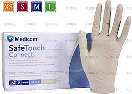Перчатки латексные 5,5г/м² неопудренные (100 шт/уп) Медиком SafeTouch® Connect