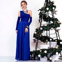 Женское длинное новогоднее вечернее платье атлас+шифон 8 цветов