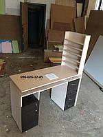 Маникюрный стол ''Professional'' с вытяжкой двухтумбовый полки для лаков по бокам закрыты