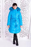 Зимнее пальто для девочки Шейла, бирюза