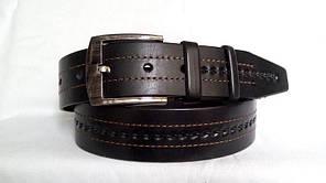"""Стильний джинсовий ремінь  45 мм, чорний, малюнок """"косичка"""" з коричневою ниткою"""