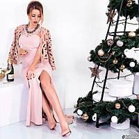 Женское длинное новогоднее платье с пиджаком с дайвинга 8 цветов