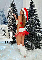 """Эффектный новогодний комплект """"Подружка Санты"""", костюм для тематической вечеринки."""