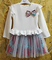Детское платье Тюльпанчик р.104-122 белый+бирюза