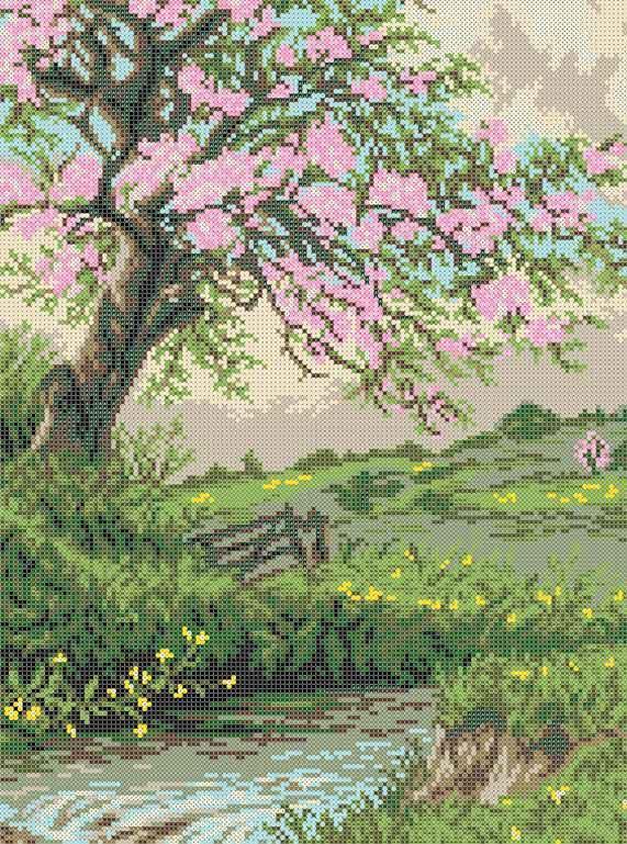 Схема для вышивания бисером Цветущее дерево БИС3-164 (А3)