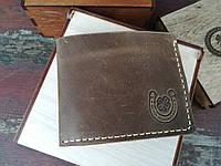 Мужской кожаный кошелёк (оливковый)