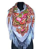 Народный платок Анна, 140х140 см, серый