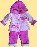 Розовый костюм на синтепоне для новорожденной: велюровая курточка, трикотажные штанишки