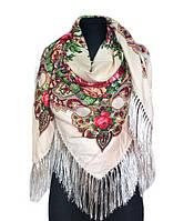 Народный платок Анна, 140х140 см, молочно-бежевый, фото 1