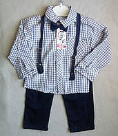 Нарядный детский костюм с бабочкой и подтяжками для мальчиков 1-4 года рукав-трансформер Турция оптом