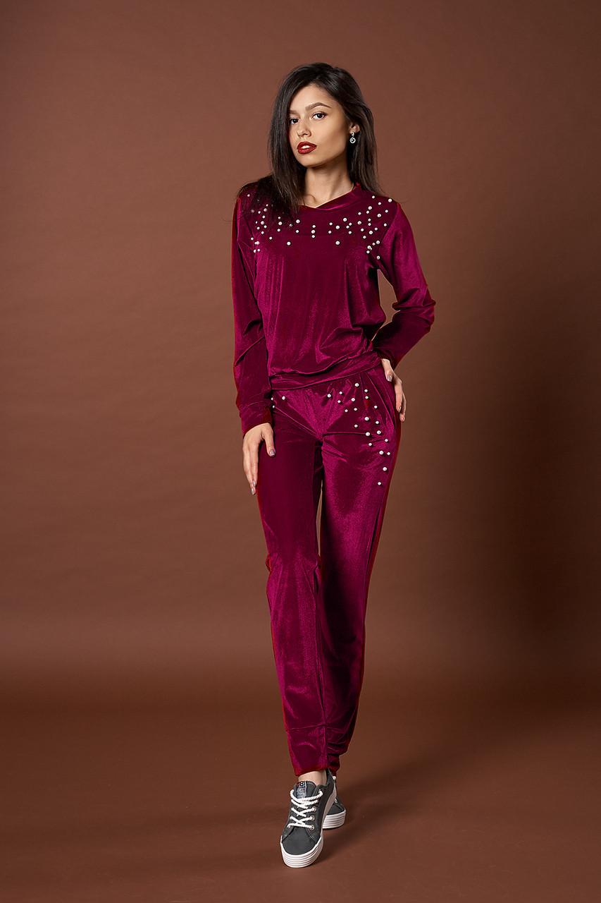 Женский велюровый костюм с жемчугом. Код модели КТ-06-39-17. Цвет ... 96dae012b9b