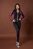 Женский молодежный спортивный костюм. Код модели КС-13. р. S Цвет черный с розовым.