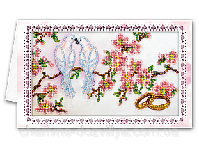"""Набор открытка-конверт для вышивки микробисером """"Свадебные птицы"""""""