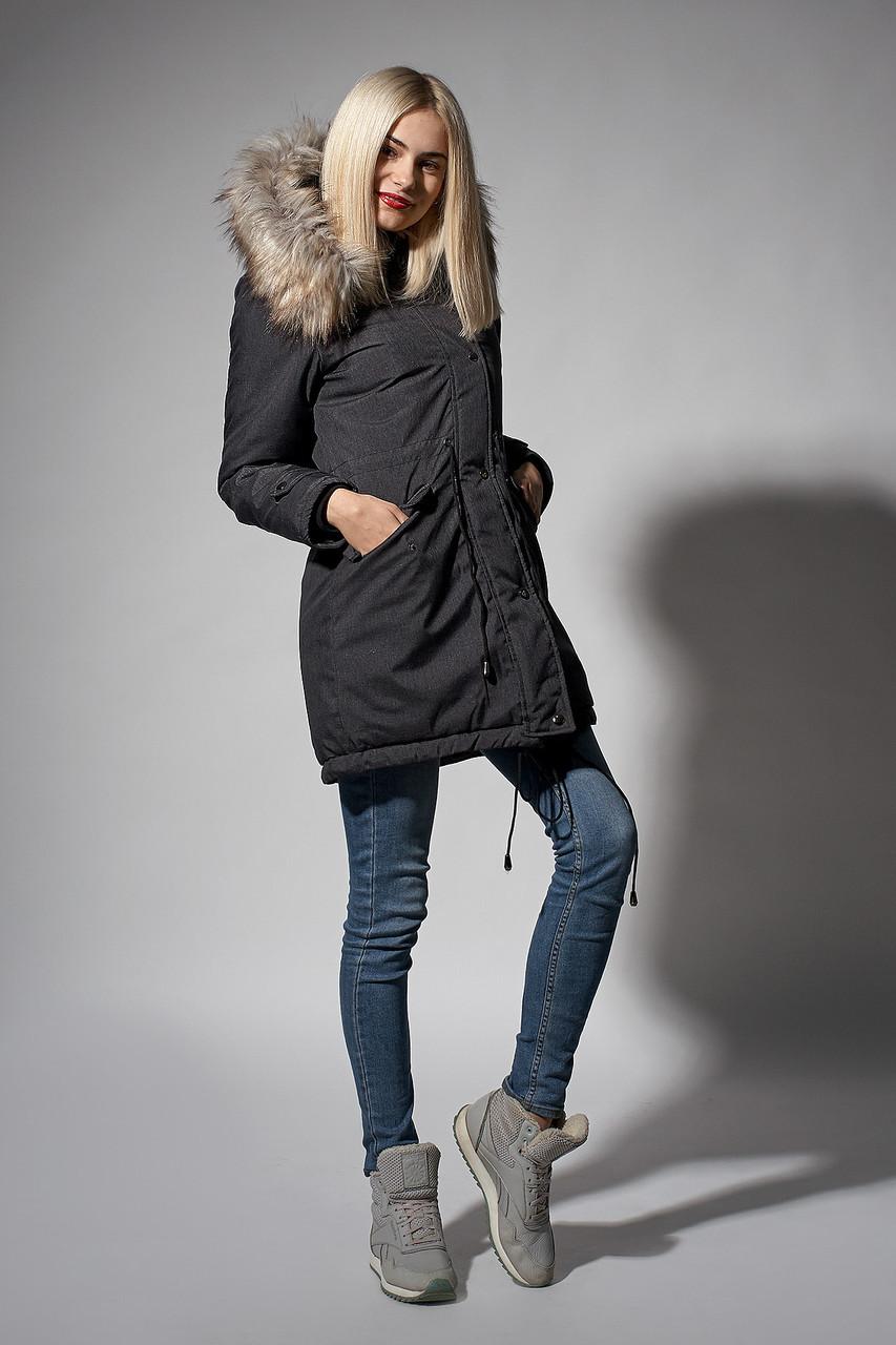 0abea880f30b Зимняя женская парка. Код К-110 E-62-18. Цвет черный джинс.  продажа ...