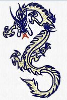 Дизайн машинной вышивки Дракон Большой 3цвета 290 х 180 мм для вышивки на халатах и готовых изделиях