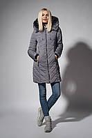 Зимнее женское молодежное пальто. Зимняя женская парка с мехом чернобурки.  Код К-108-58-18. Цвет серый.