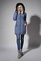 Зимнее женское молодежное пальто. Код К-108-58-18. Цвет серо-голубой.