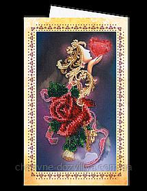 """Набор открытка-конверт для вышивки микробисером """"Бархат розы"""""""