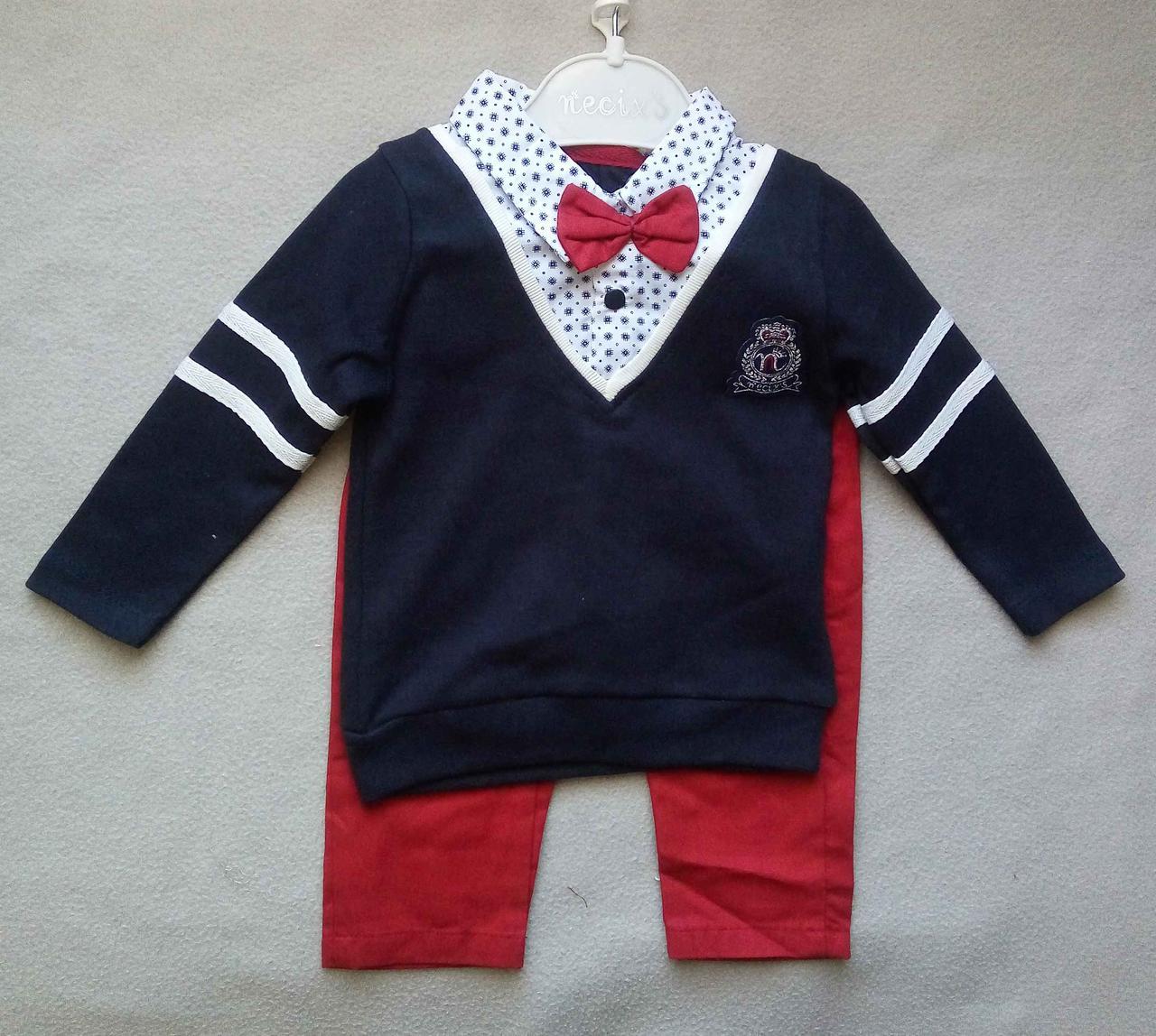 Нарядный детский костюм с бабочкой для мальчиков 6-12 мес Турция оптом