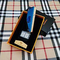 Зажигалка USB - спиннер + гравировка на заказ!  Синяя