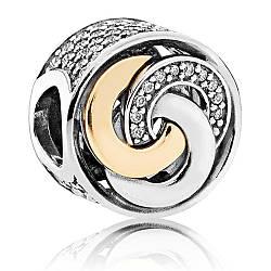 Подвеска шарм серебряно - золотая