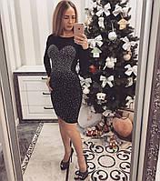 Вечернее облегающее платье со стразами (черный и синий )