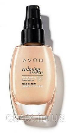 Тональний крем для обличчя з заспокійливим ефектом, Avon Calming Effects, Almond, темний беж, 27648