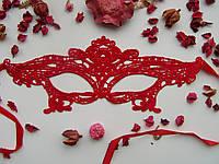 Кружевная маска Нежность ярко красная выполнена из мягкого кружева